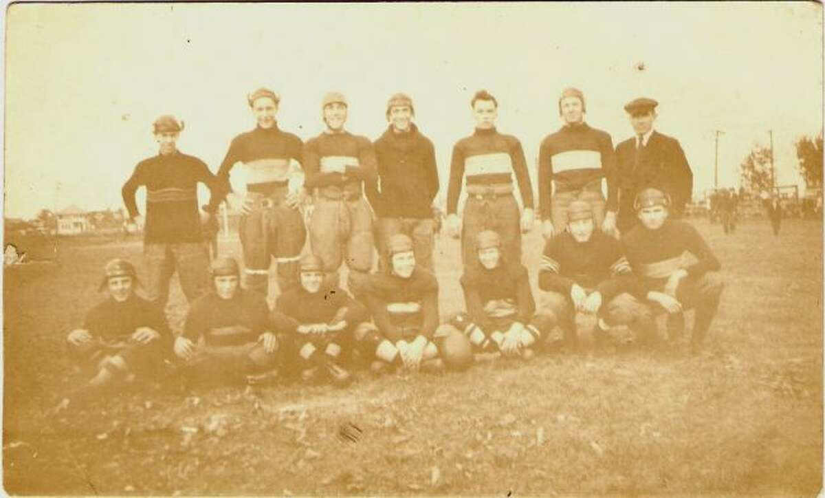 Shown is one of the very early Manistee High School football teams ready for action.
