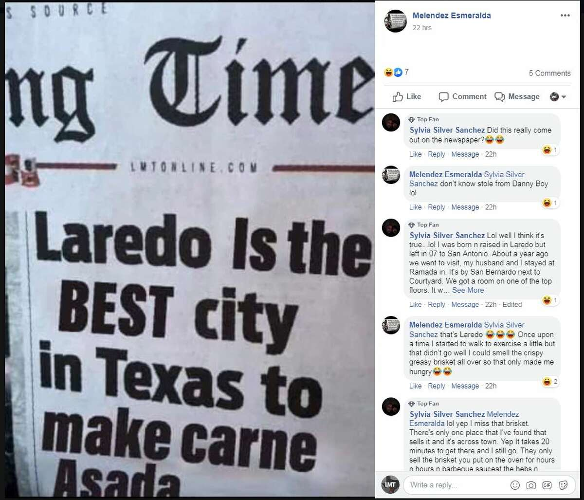A doctored image of the Laredo Morning Times front page shows what Laredo thinks of the report ranking Laredo last in Texas on a list of the best & worst cities to raise a family.
