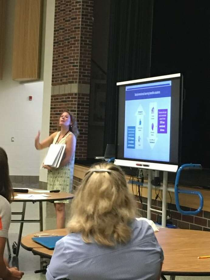 Lauren Kazee who is the mental health consultant for the Michigan Department of Human Services gives a presentation on Social Emotional Learning for area administrators and ISD personnel. The Manistee Intermediate School District is putting on a year long set of monthly modules for area principals that they can take back to their teachers to try in the classroom.