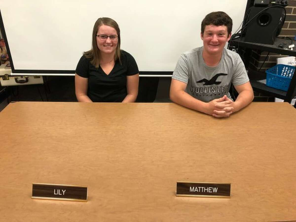 New student representatives to the Manistee Area Public Schools Board of Education where named this week with those spots going to Lily Sandstedt and Matt Blevins. They will report monthly to the board on student activities and any concerns.