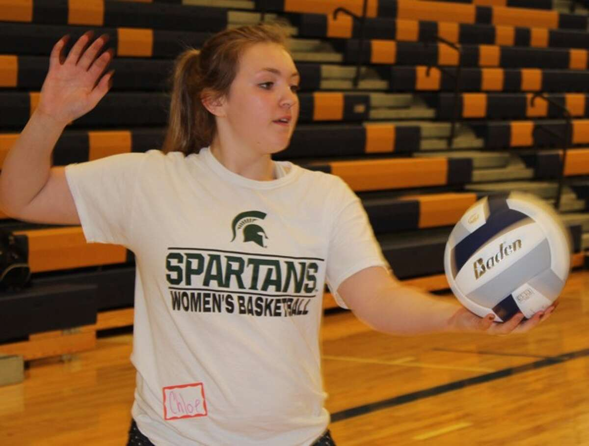 Coaching staff and players from Central Michigan University recently conducted a skills camp at Onekama Schools for area players. Campers were given an opportunity to receive training in a variety of skills like serving.