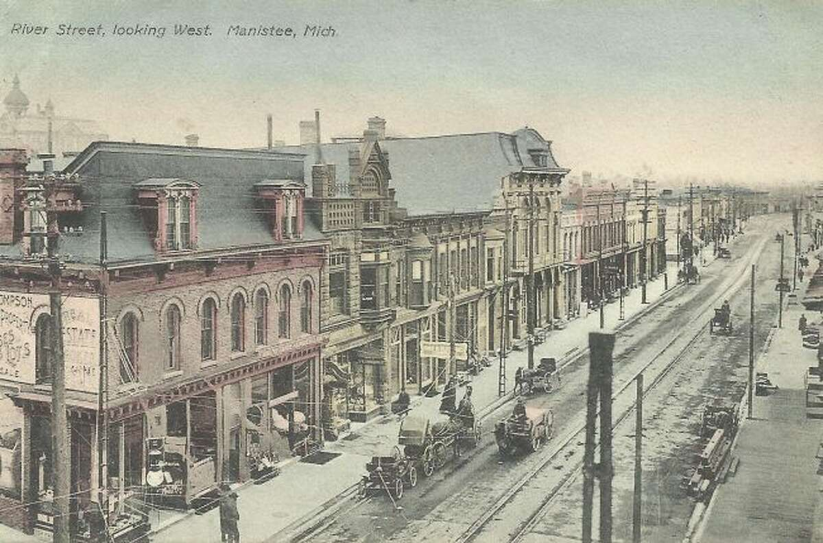 This 1890s photo shows a view to the west down River Street.