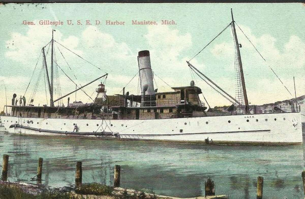 The steamer General Gillespie enters the Manistee Harbor with a load of passengers. Travel by boat to many locations was a popular form of travel in the late 1890s and early 1900s.