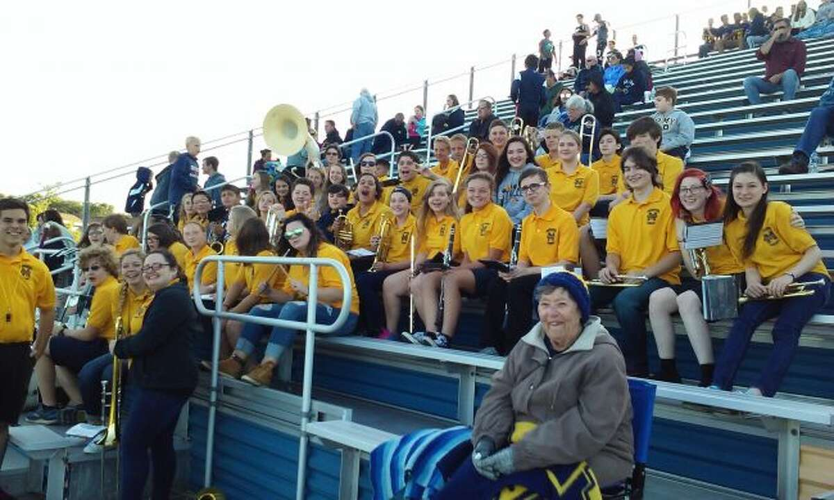 School didn't open until this week, but the Manistee High School Marching Band was able to provide some spirited music for the people attending the game against Hopkins High School on Aug. 31.