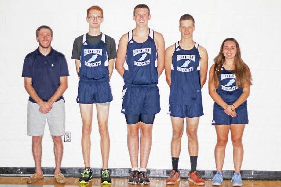 Scott Yoshonis/News AdvocateBrethren's cross country team. From left: Head coach Kyle Griffin, John Schaefer, Noah Kemler, Dustin Cilman and Taylor Cordes. Not pictured: Nick Kemler.
