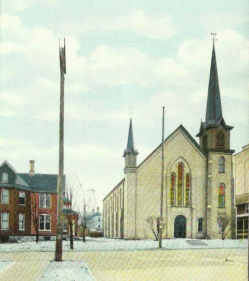 A snowy Methodist Church that was located on First Street is shown in this 1940s photograph.