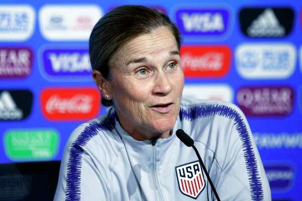 FILE - In this July 6, 2019 file photo United States coach Jill Ellis attends a news conference at the Stade de Lyon, outside Lyon, France. A person with knowledge of the situation says Ellis is stepping down after leading the team to back-to-back Women's World Cup titles. The person spoke on the condition of anonymity Tuesday, July 30, 2019 because the resignation has not been officially announced.