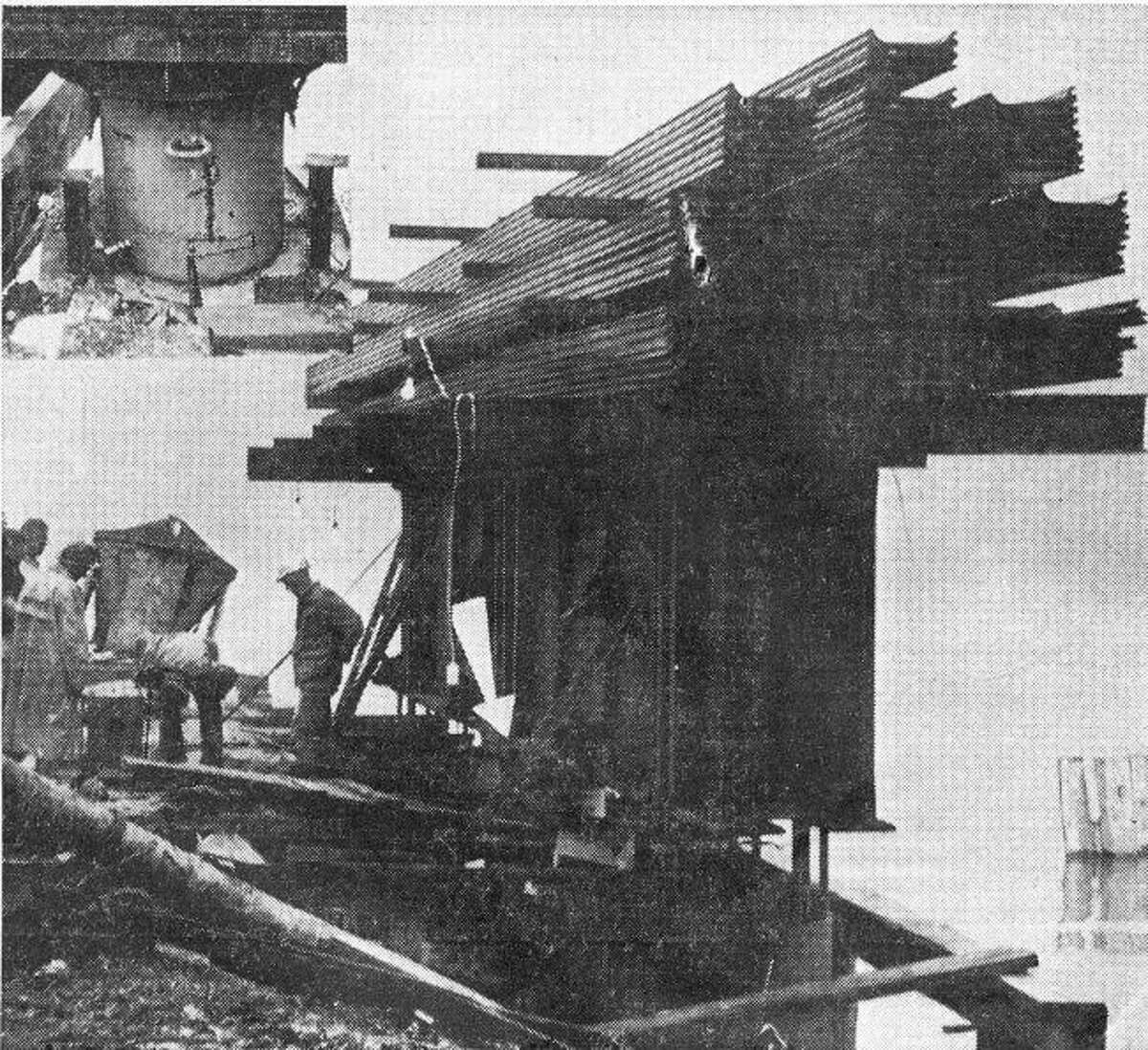 The Maple Street Bridge that was constructed in the mid 1960s is shown as it was being being built.
