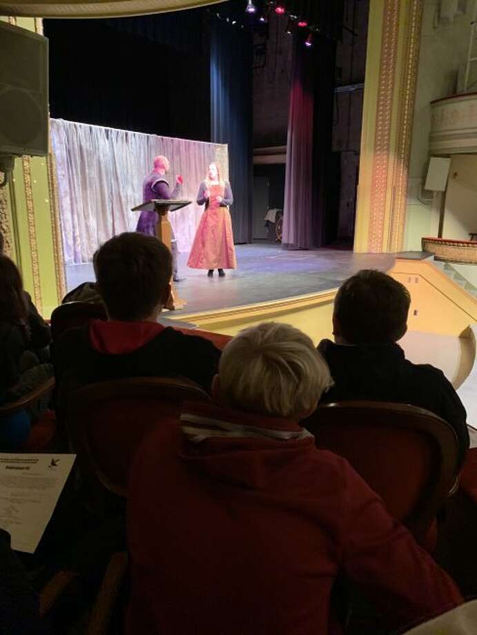 Seventh grade students from Onekama Middle School travelled to The Ramsdell Regional Center for the Arts on Friday to view a live program presented by the Pigeon Creek Shakespeare Company.