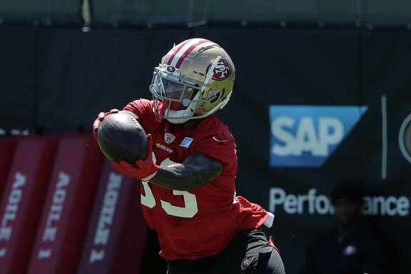 San Francisco 49ers' Austin Walter at the team's NFL football training camp in Santa Clara, Calif., Saturday, July 27, 2019. (AP Photo/Jeff Chiu)