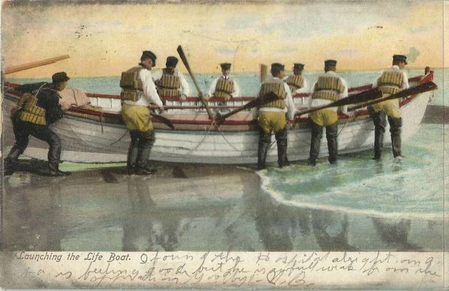 The Lifesavers who operated at the mouth of the Manistee River Channel in the late 1890s were an early version of the Coast Guard.