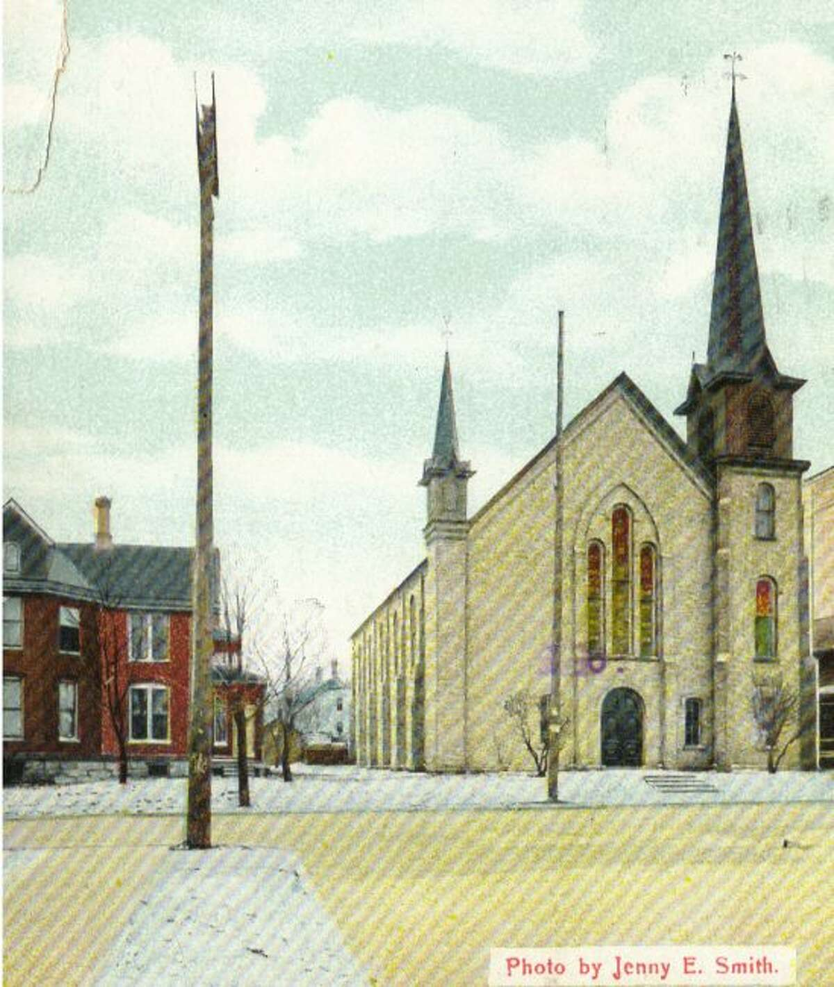 This is what the old Methodist Church that was located on First Street in Manistee used to look like in the early 1930s.