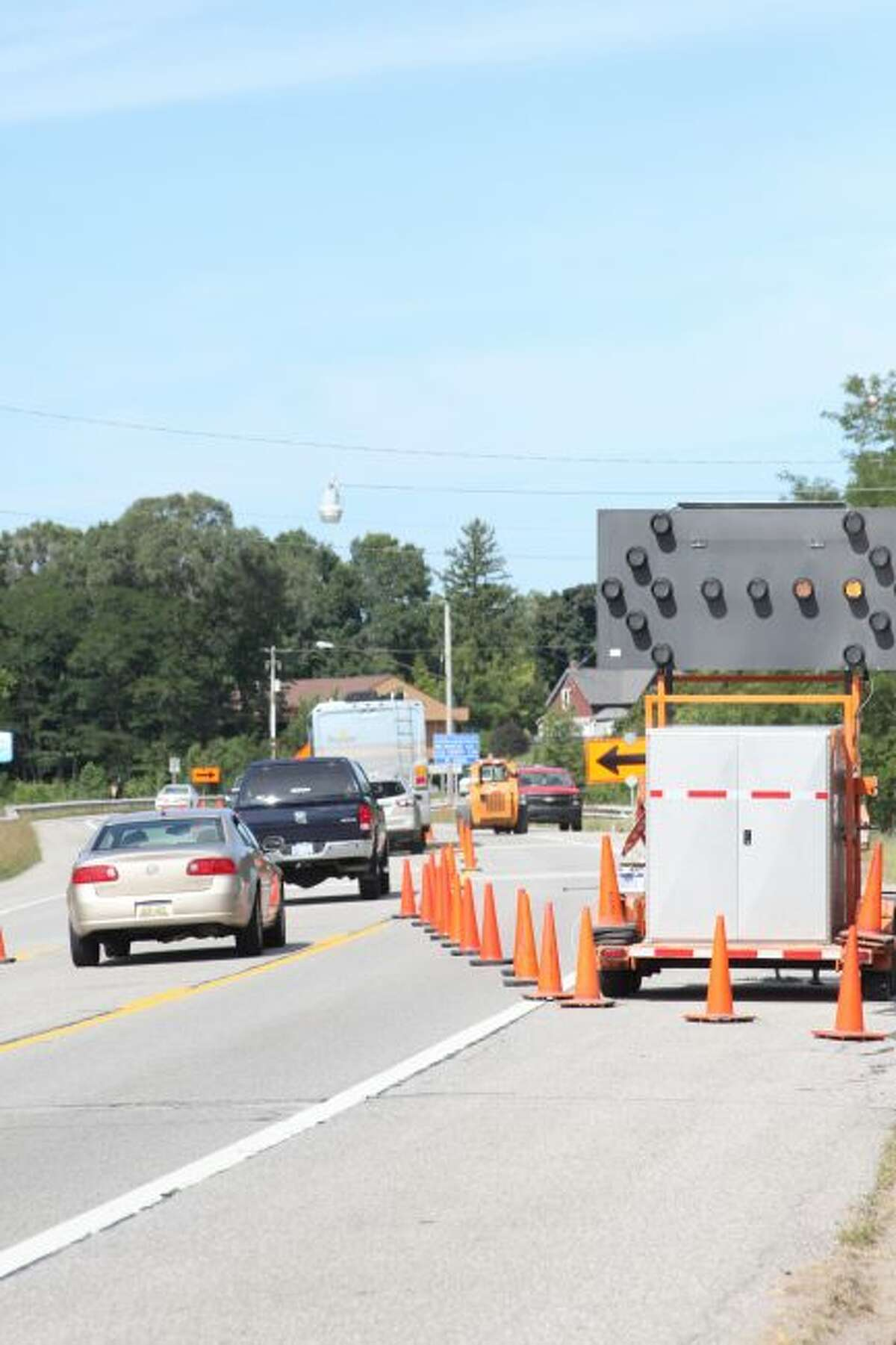 Traffic was restricted to one lane while the work was being completed. It was done by midday Thursday. (Sean Bradley/News Advocate)