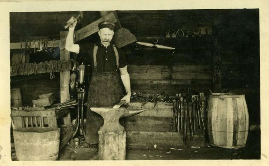 Horses were used a great deal in the sawmills located around Manistee, so it was important to have a blacksmith in camp for horseshoe repair.