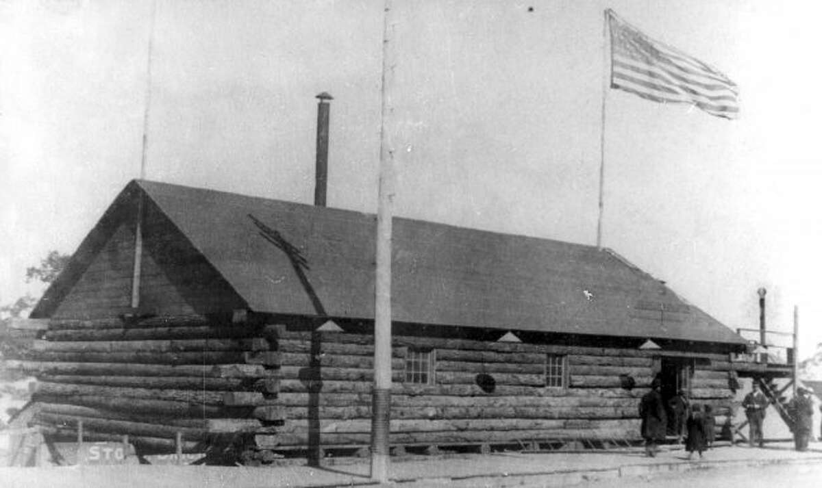 This log cabin, formerly located on the grounds of today's Elks Temple, served as Republican election headquarters in the campaign of 1888.