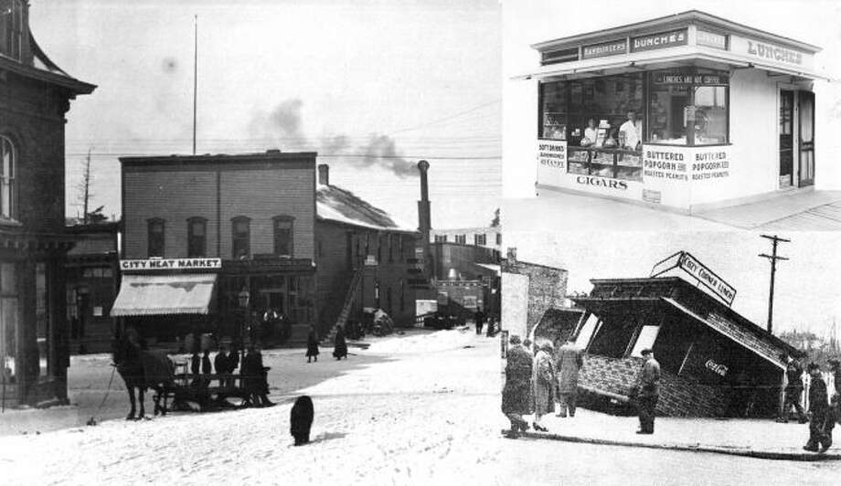 This photo shows different scenes from the corner of Maple and River streets including one where a business was sliding over the edge toward the river channel.