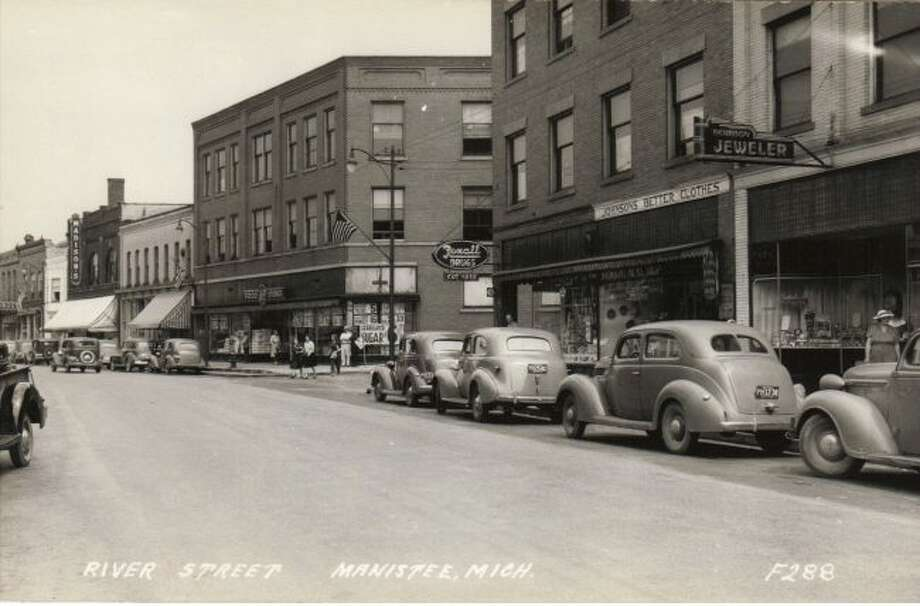 This 1930s view of River Street shows a time when there was two-way traffic on the street.