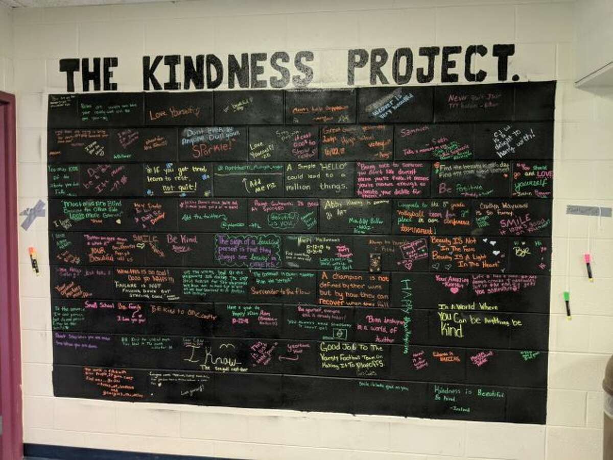 Shown is The Kindness Project board that students belonging to the National Art Society constructed at Brethren Schools to positive and encouraging messages among students.