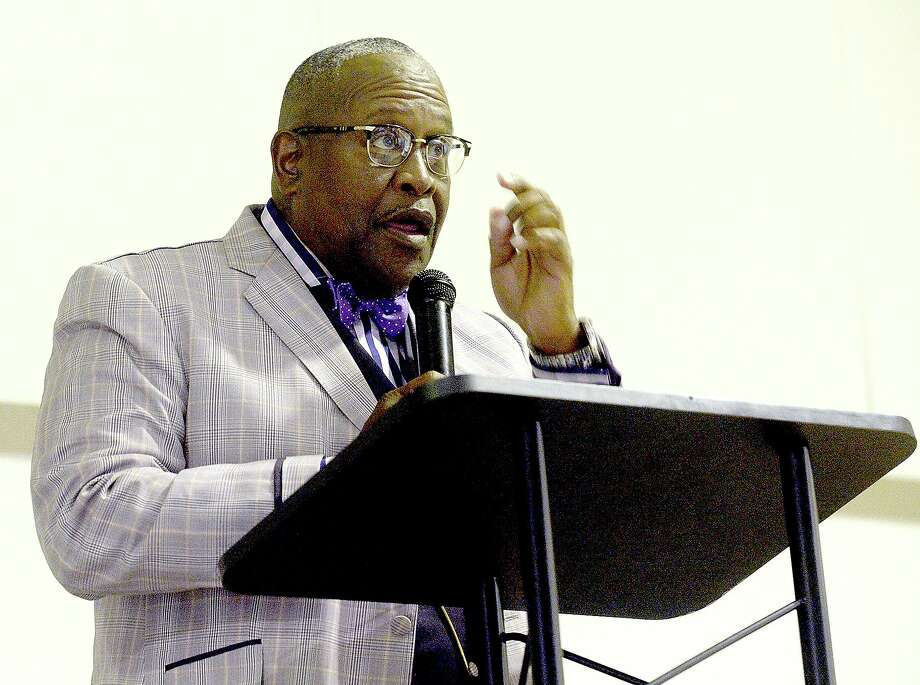 Port Arthur Mayor challenger Thurman Bartie makes his opening statement during a town hall style forum at First Assembly of God church Thursday night. The Port Arthur mayor will be decided in the June 22nd runoff election. Photo taken Thursday, June 6, 2019 Kim Brent/The Enterprise Photo: Kim Brent / Kim Brent/The Enterprise / BEN