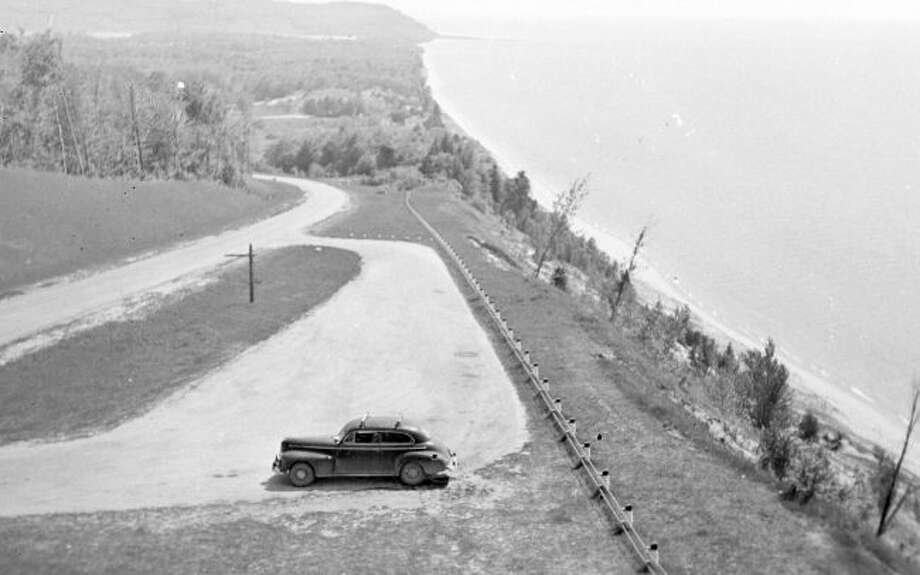 This is what the lookout on M-22 over Lake Michigan just outside of Arcadia looked like in the 1940s.