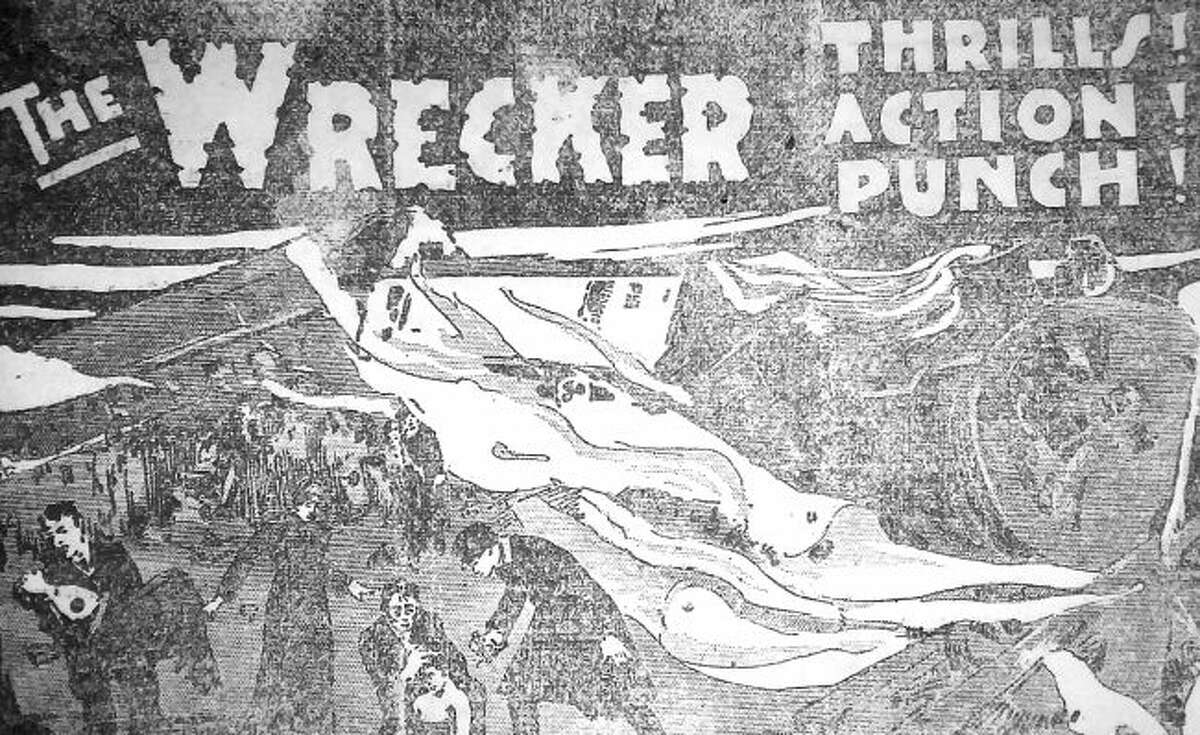 """Artwork depicting scenes from """"The Wrecker"""" were published in advertisements for the film in the Manistee News Advocate."""