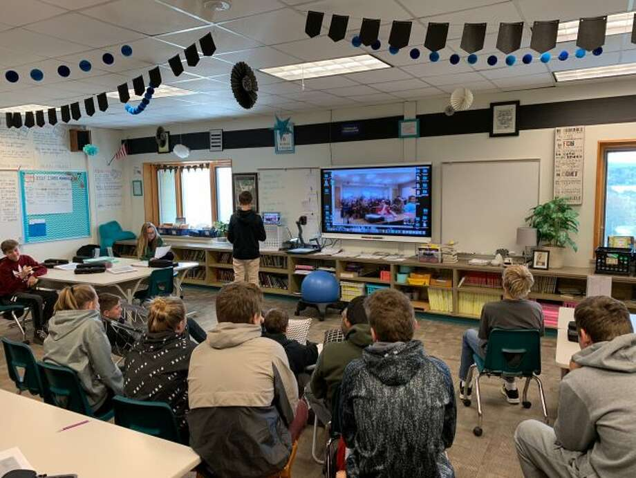 Eighth grade students from Onekama Consolidated Schools participate in a live video conference with a Canadian class during the 2018 Global Read Aloud Project.