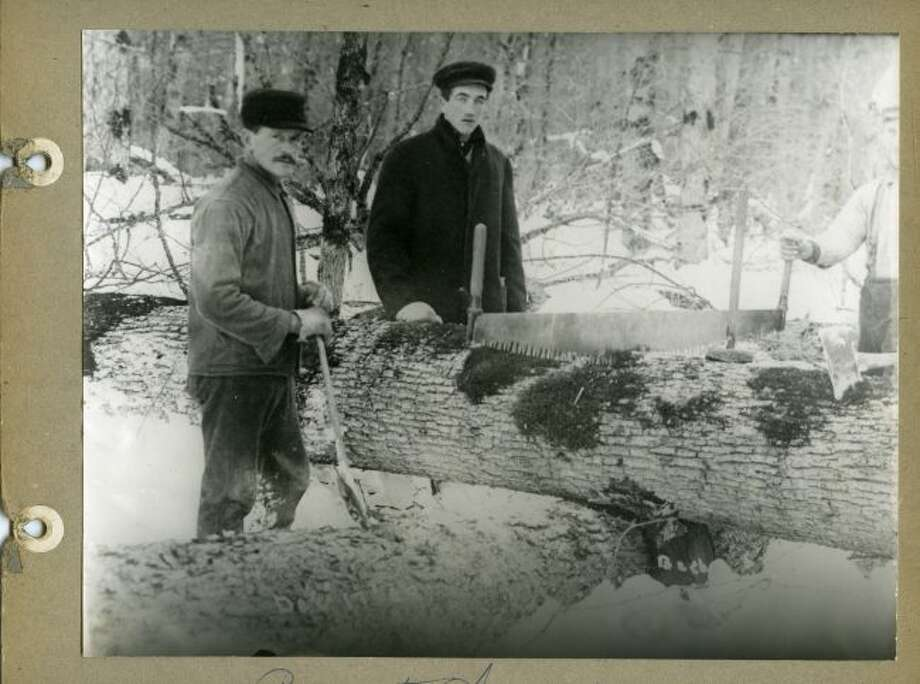 When lumberjacks dropped trees during the lumbering era in Manistee County it was done with the use of crosscut saws.