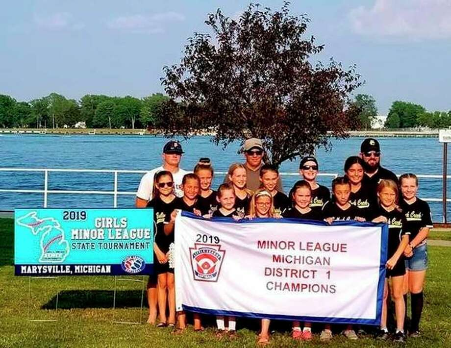 Pictured is the Bullock Creek Little League Minor Softball Team: (front row, from left) Easton Murray, Isabella McNarney, Bella Kipfmiller, Lily Coyle, Jillian Owen, Gracie Hammond; (middle row, from left) Kaylin Kraus, Jaedyn Heinlein, Bryanna Herron, Delaney Violette, Ella Stoney, Jeniffer Young, Lily Spann; (back row, from left) Coach Nate Owen, Coach Craig Violette, Manager Tom Stoney. (Photo provided)