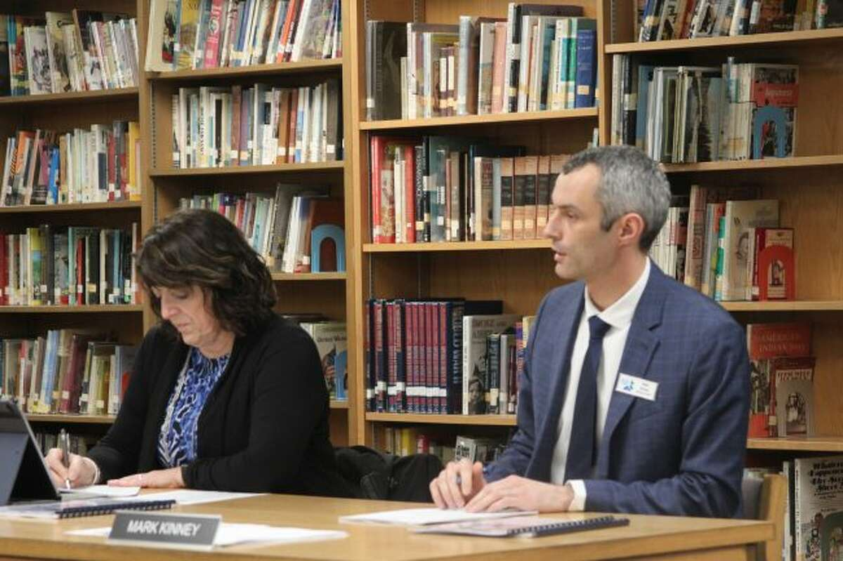 West Shore Community College vice president of academics & student services Mark Kinney addresses the board of trustees about a new program the college is doing to promote student success.