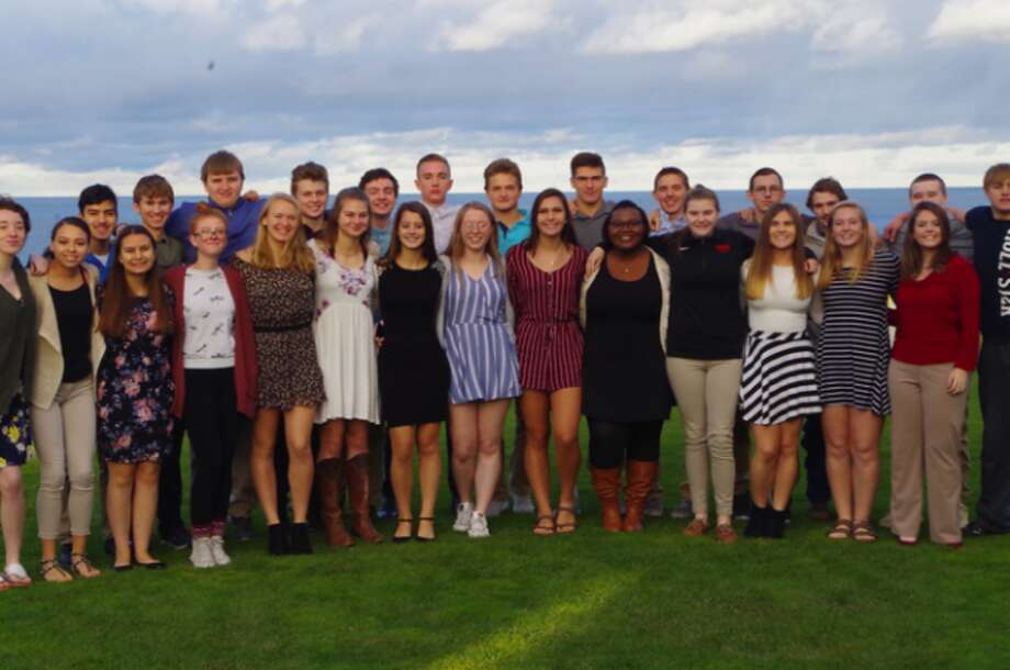 Shown are members of the Onekama Consolidated Schools senior class who attended a special presentation by former school superintendent Beth McCarthy on etiquette that was held at Arcadia Bluffs.