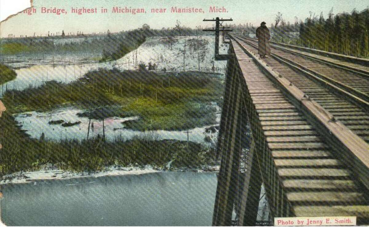 This early 1900s photograph shows the view from the top of the High Bridge railroad crossing.