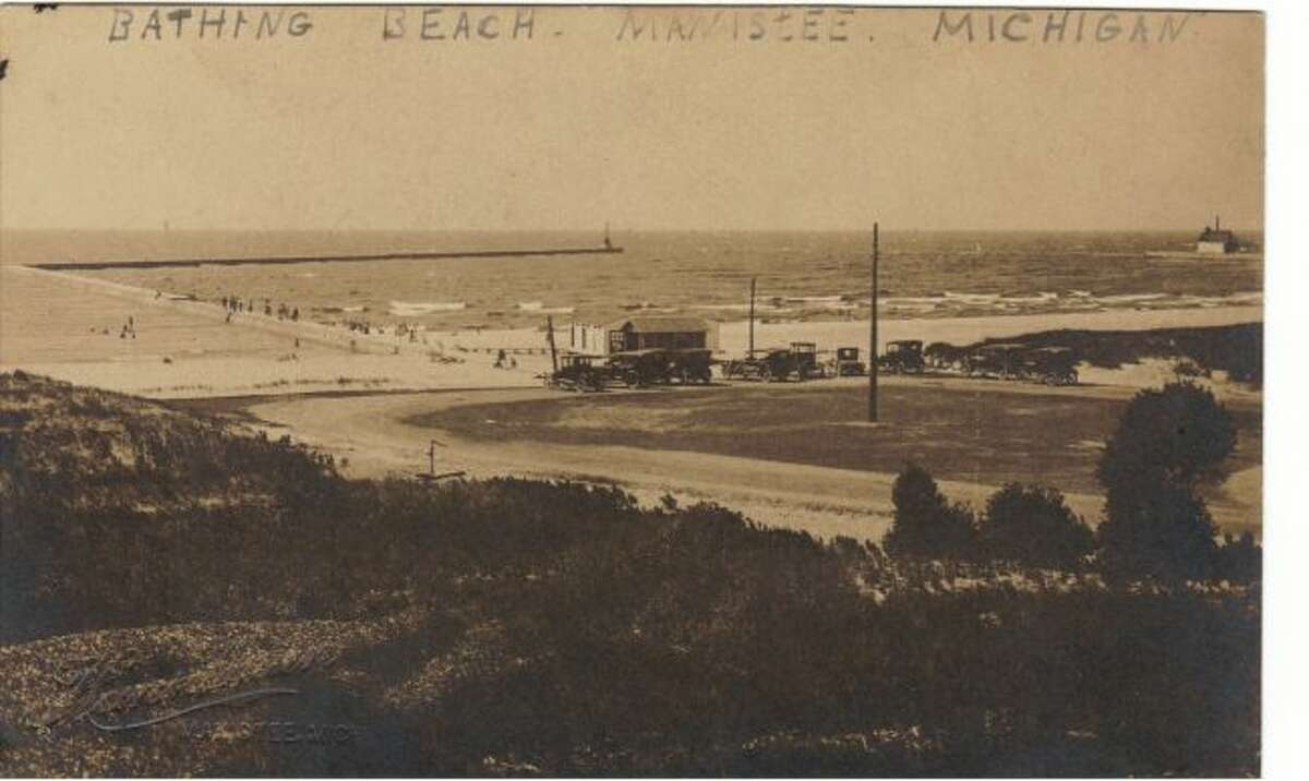 This early 1900s view shows the area at First Street Beach in Manistee.