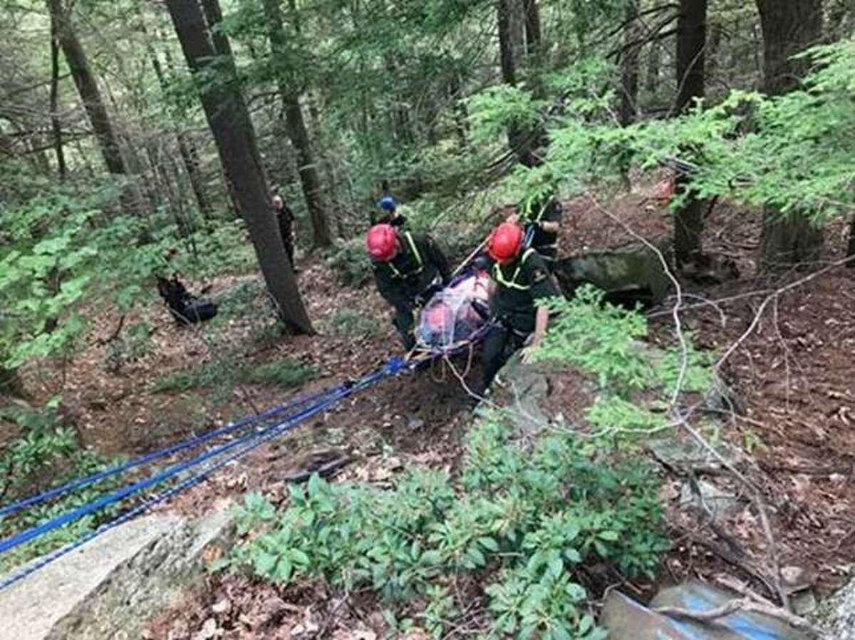 DEC Forest Rangers use a rope system to rescue an accident victim on July 26, 2019, in Hunter, Greene County.