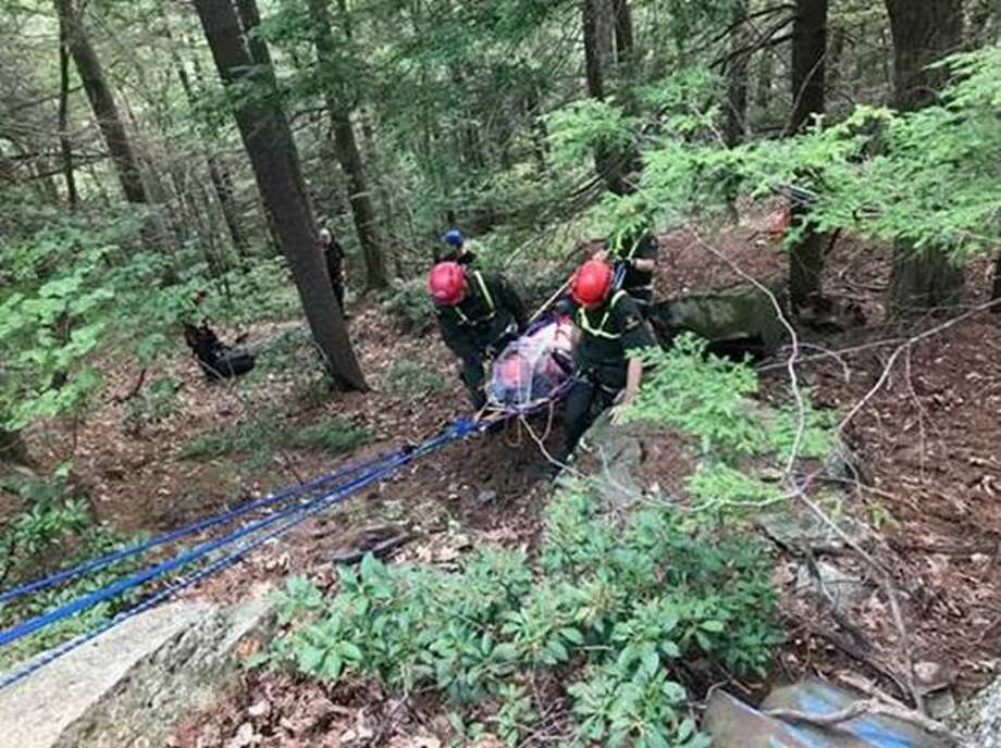 DEC Forest Rangers use a rope system to rescue an accident victim on July 26, 2019, in Hunter, Greene County. Photo: State Department Of Environmental Conservation