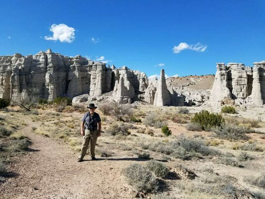 During his 10-week stay as a volunteer at the Ghost Ranch in Abiquiu, New Mexico, Manistee resident Hank Cupp had the opportunity to hike more than 350 miles in the scenic area when he wasn't working in the Museum of Paleontology or Anthropology. He is pictured at Plaza Blanco.