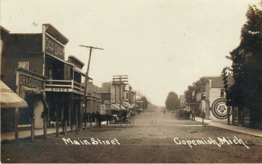 Downtown Copemish in the early 1890s was a popular stop for most people riding in their horse and buggies.