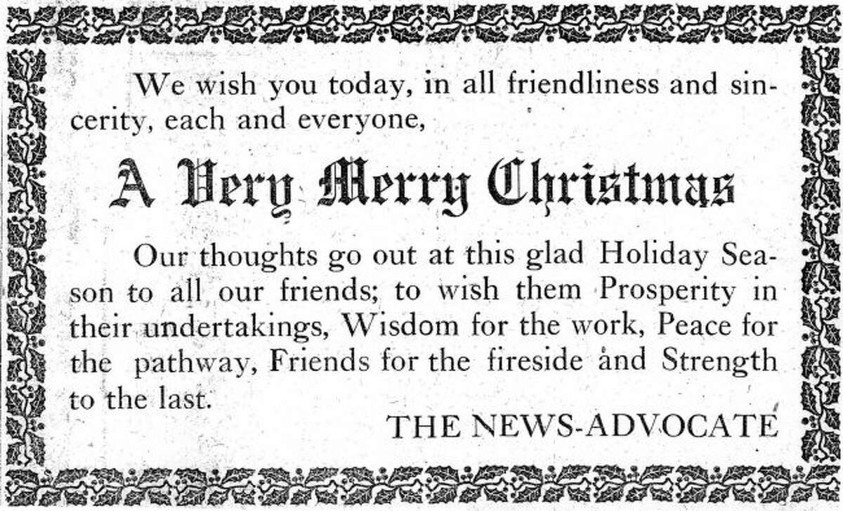 The staff at the Manistee News Advocate wished everyone a Merry Christmas in this 1916 advertisement that ran in the Dec. 21, 1916 edition.