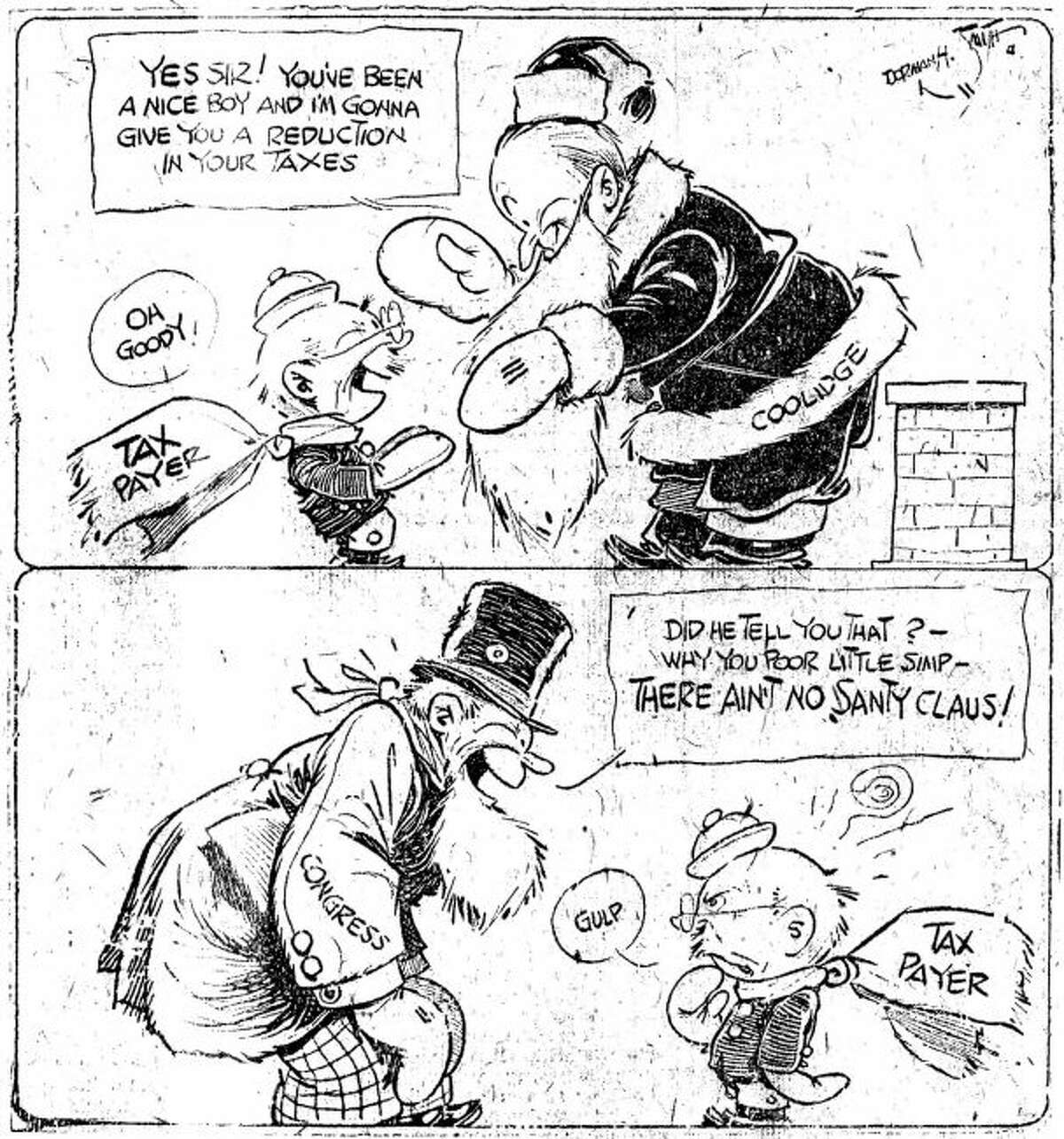 This cartoon ran in the Dec. 21 edition of the Manistee News Advocate about President Calvin Coolidge and Congress over taxes.