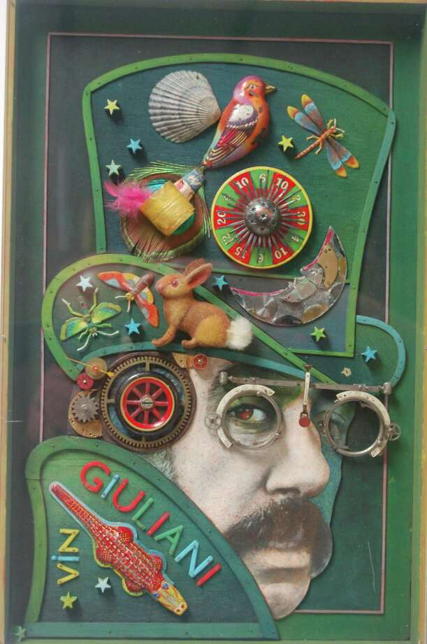 """Self Portrait with Magician Hat"" (1973) is one of the art assembleges that will be on display at the Bruce Museum in the new exhibit, ""Assembling Art: Works by Vin Giuliani,"" which opens Saturday. The multi-media painted wood assemblage, measuring 18 inches by 11 inches, is a gift of the Giuliani Family. Photo: Contributed / Bruce Museum"