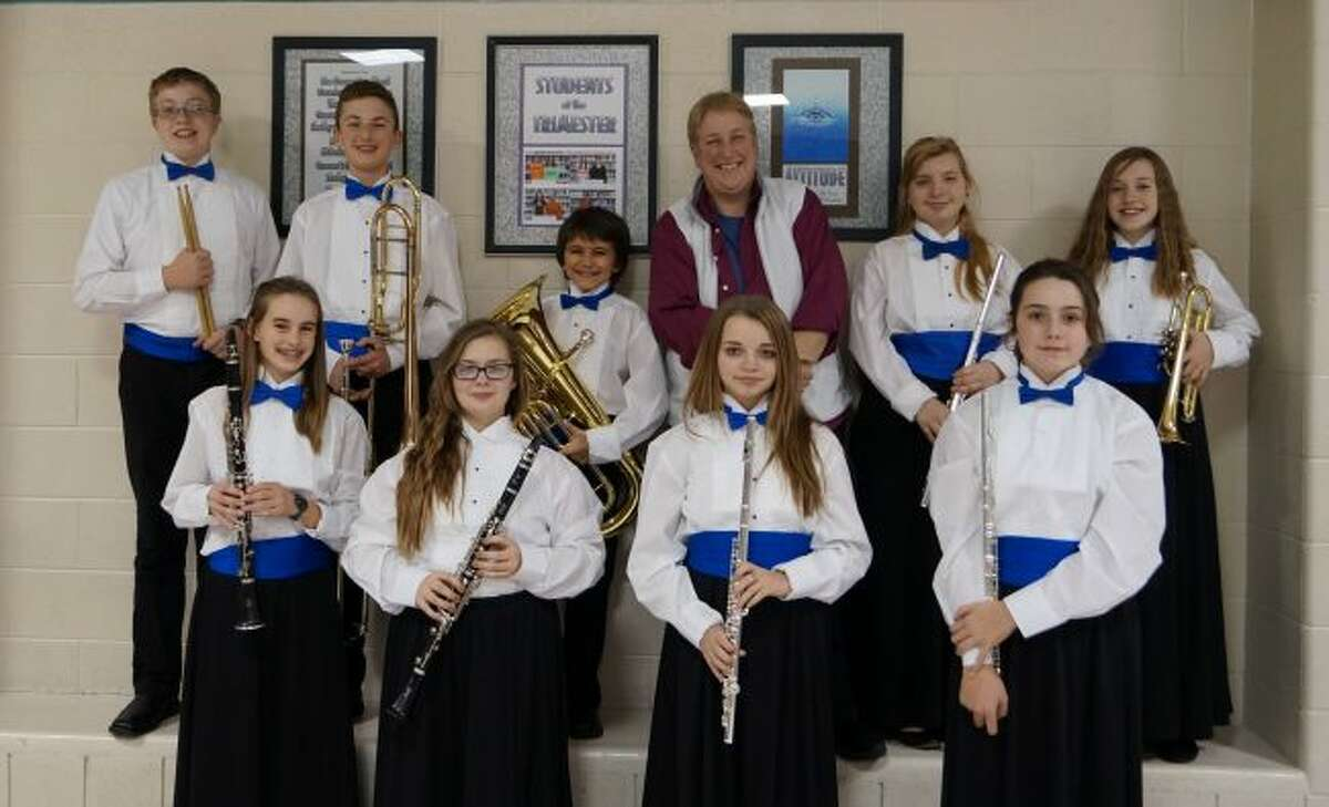 The Michigan School Band and Orchestra Association District Honors Band held for middle school students held at Shelby High School recently. The Manistee band students that performed with the groups were sevnth graders: Brandi Monroe, Kyla White, Solana Postma, and Piper Salmon; and eighth graders: Sydney Linke, Casey LaPoint, Benjamin Sullivan, Dominic Valencia, and Titus Lind.