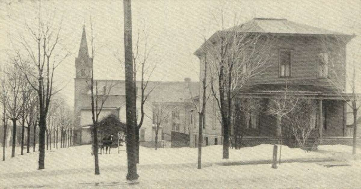 The St. Marys Church and parsonage is shown in this 1905 photograph.