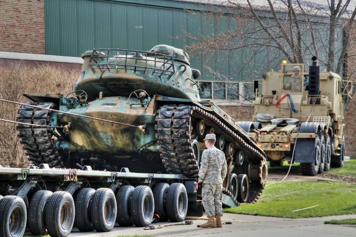 Early in 2016 the tanks that adorned the Manistee Armory for so many years were removed after the building was put up for sale.