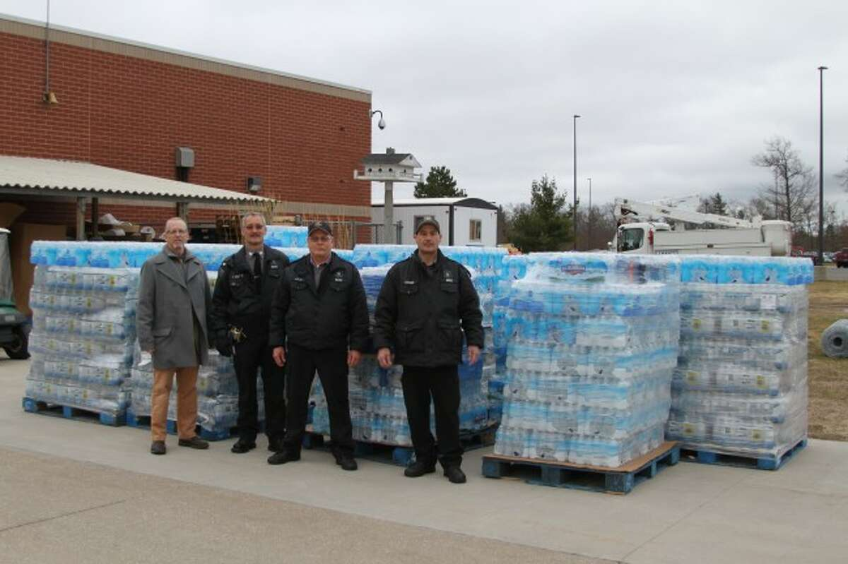 Staff members at the Oaks Correctional Facility, the Pugsley Correctional Facility and the Manistee Intermediate School District teamed up to collect water that will be sent to the Genesee Intermediate School District in Flint. Students have been struggling to get enough good drinking water since the crisis hit the Flint water system.