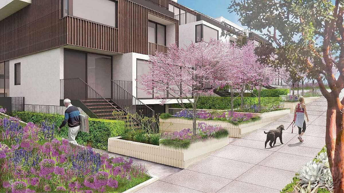 A rendering of the townhomes in the proposed housing project at 3333 California St. in San Francisco.