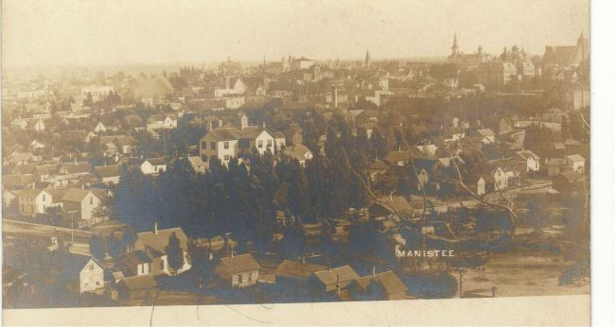 This 1930s photograph shows the City of Manistee's Fourth Ward area.