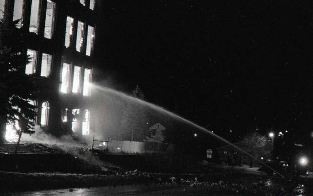 This fire in the 1960s destroyed the former St. Joseph School building that has since been replaced by the community center building.