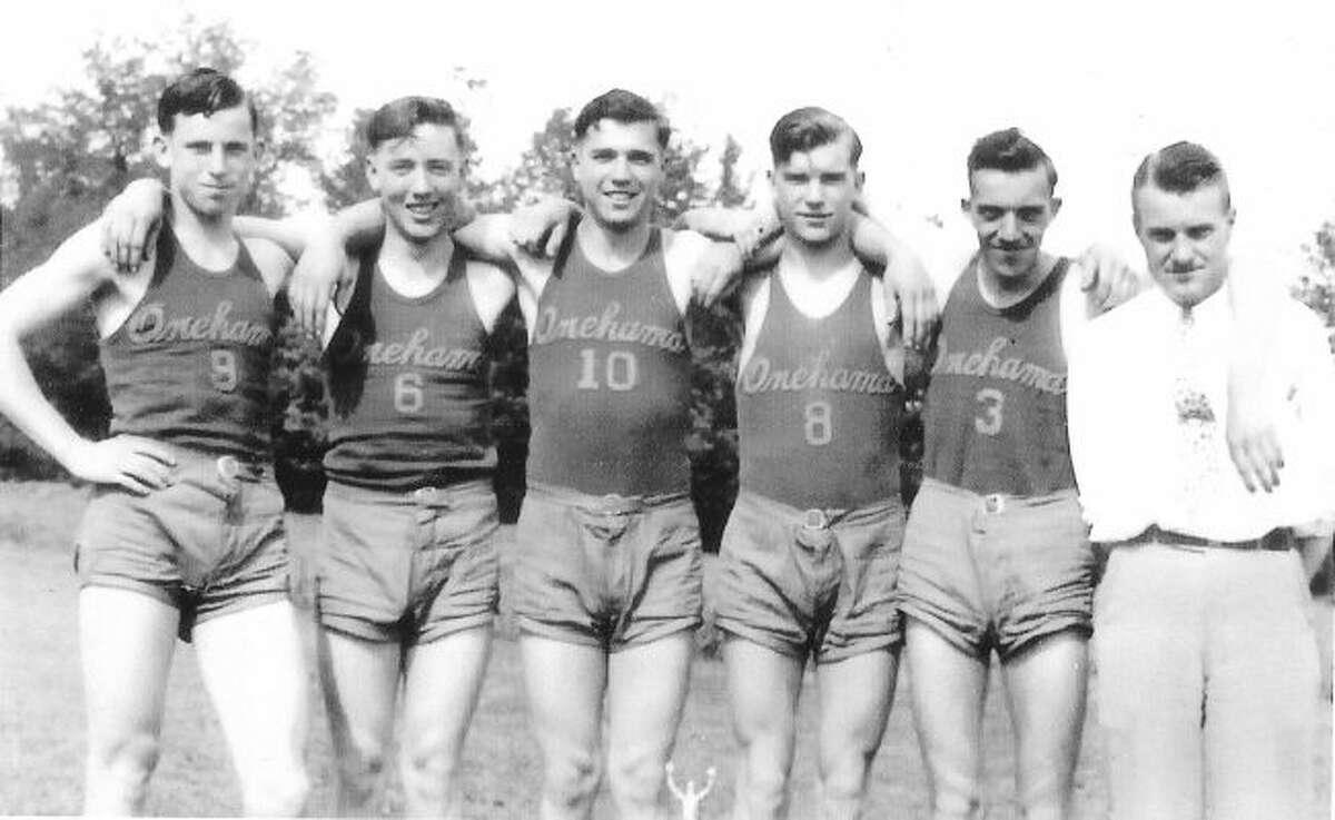 Courtesy photoOnekama's 1936 state-championship track team. From left: Leo Kelley, Frank Figgles, Thomas Miller, Russell McCurdy, Jack Nelson and coach Merlin C. Wolfe.