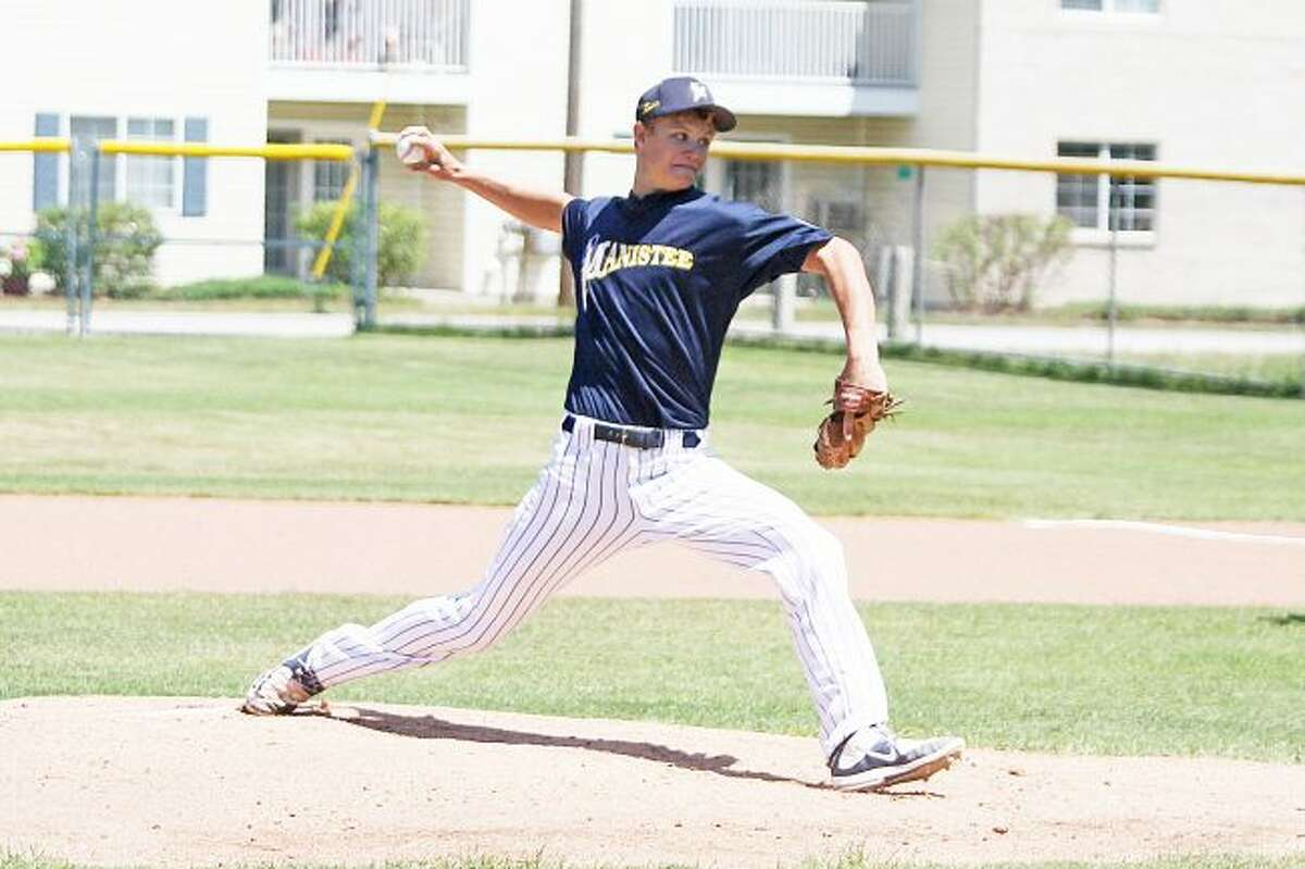 Scott Yoshonis/News AdvocateManistee Saints pitcher Josh Riggs, shown last weekend against the Lake Michigan Lakers, will take the mound on Sunday, the last day of the GLUBL season.