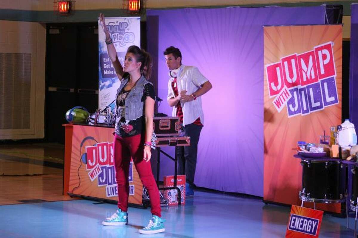 Laura Brown and Nick Greene were the featured performers in the Jump with Jill program. They put on 35 shows in Michigan about the importance of healthy eating and exercise. The show is sponsored by the United Dairy Industry of Michigan.