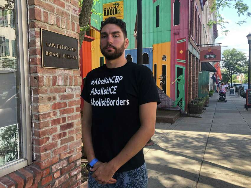 Bryan MacCormack, executive director of the Columbia County Sanctuary Movement, outside his office in Hudson, N.Y. on July 24, 2019. A video in which he thwarted the ICE arrest of two undocumented immigrants went viral in March.